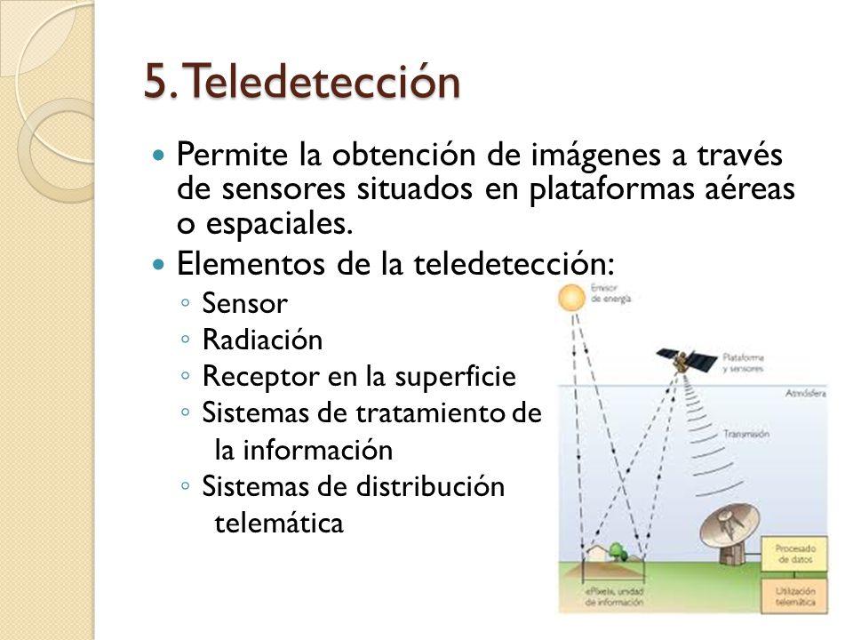 5. Teledetección Permite la obtención de imágenes a través de sensores situados en plataformas aéreas o espaciales. Elementos de la teledetección: Sen