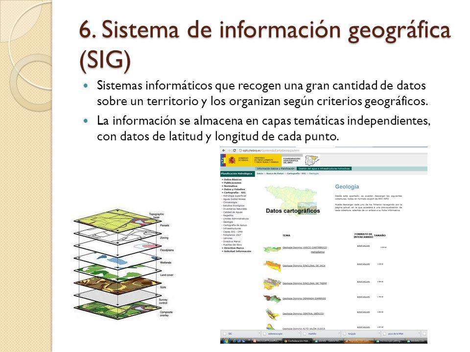 6. Sistema de información geográfica (SIG) Sistemas informáticos que recogen una gran cantidad de datos sobre un territorio y los organizan según crit