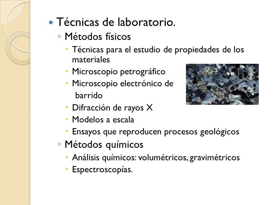 Técnicas de laboratorio. Métodos físicos Técnicas para el estudio de propiedades de los materiales Microscopio petrográfico Microscopio electrónico de