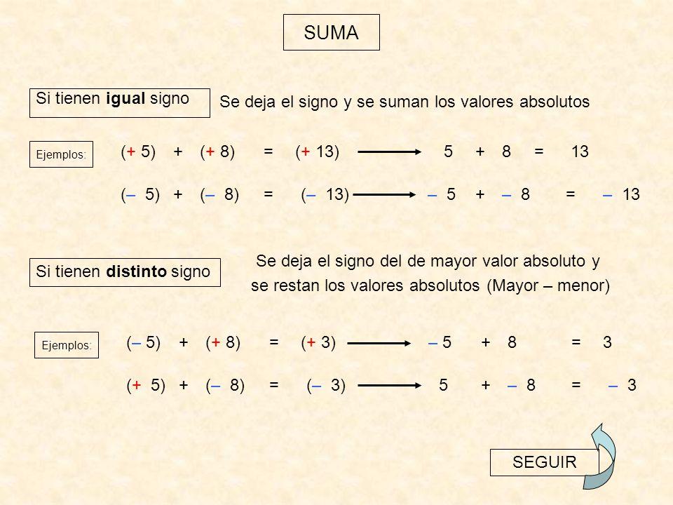 La resta de números enteros se obtiene sumando al minuendo el opuesto del sustraendo.