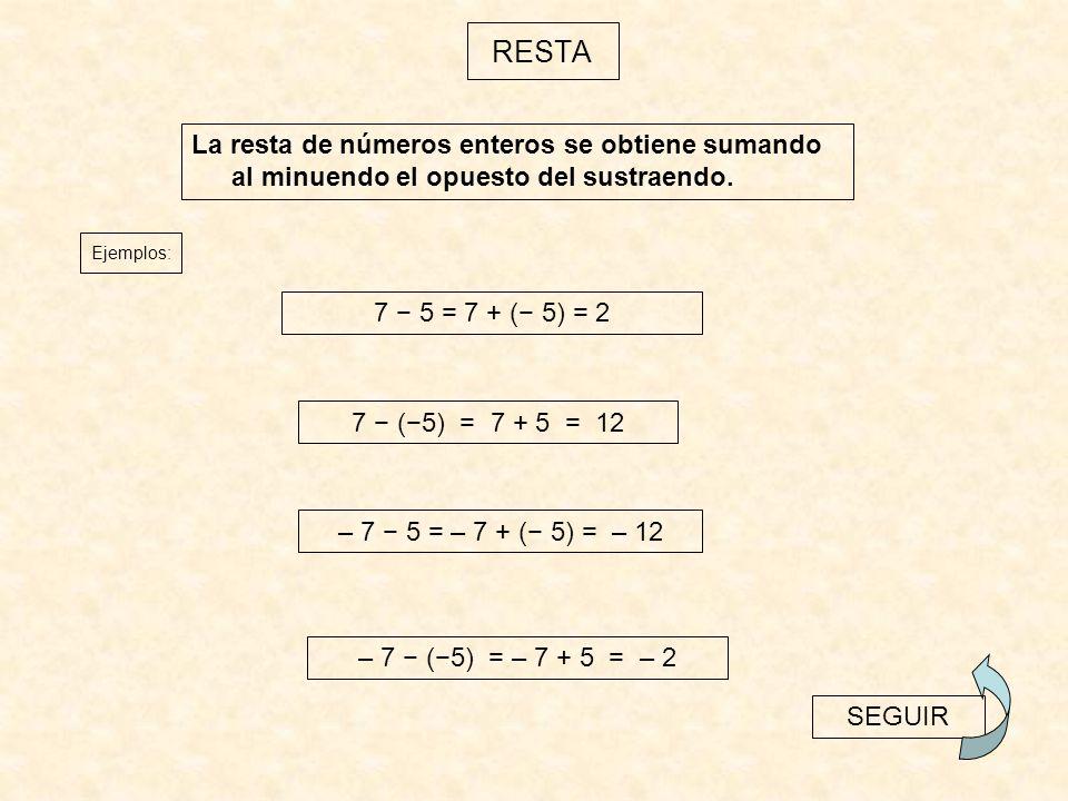 La multiplicación de varios números enteros es otro número entero, que tiene como valor absoluto el producto de los valores absolutos y, como signo, el que se obtiene de la aplicación de la regla de los signos.
