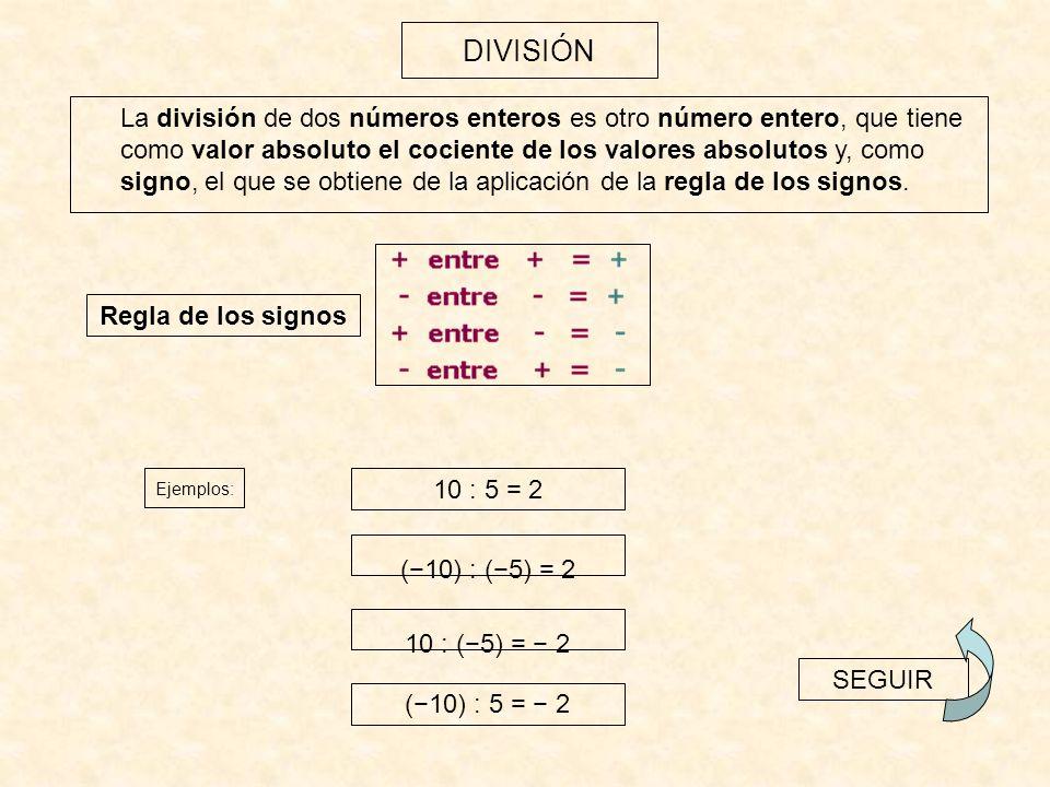 La potencia de exponente natural de un número entero es otro número entero, cuyo valor absoluto es el valor absoluto de la potencia y cuyo signo es el que se deduce de la aplicación de las siguientes reglas: POTENCIACIÓN 1.