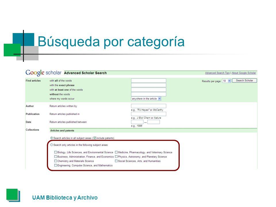 Búsqueda por categoría UAM Biblioteca y Archivo