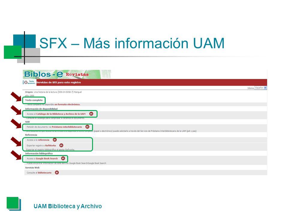 SFX – Más información UAM UAM Biblioteca y Archivo