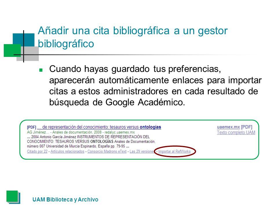 Añadir una cita bibliográfica a un gestor bibliográfico Cuando hayas guardado tus preferencias, aparecerán automáticamente enlaces para importar citas a estos administradores en cada resultado de búsqueda de Google Académico.