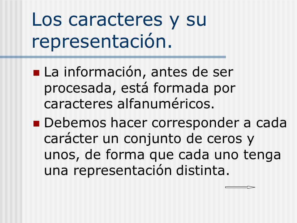 Los caracteres y su representación. La información, antes de ser procesada, está formada por caracteres alfanuméricos. Debemos hacer corresponder a ca