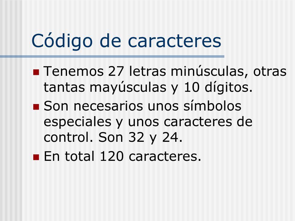 Código de caracteres Tenemos 27 letras minúsculas, otras tantas mayúsculas y 10 dígitos. Son necesarios unos símbolos especiales y unos caracteres de