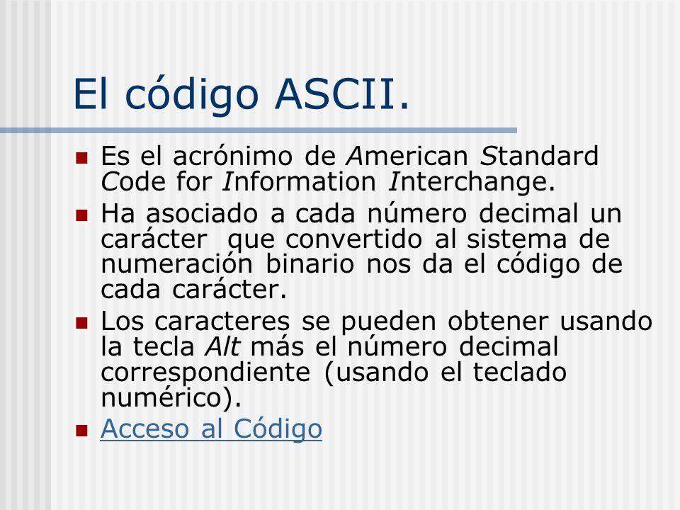 El código ASCII. Es el acrónimo de American Standard Code for Information Interchange. Ha asociado a cada número decimal un carácter que convertido al