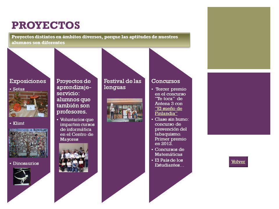 PROYECTOS Exposiciones Setas Klimt Dinosaurios Proyectos de aprendizaje- servicio: alumnos que también son profesores. Voluntarios que imparten cursos