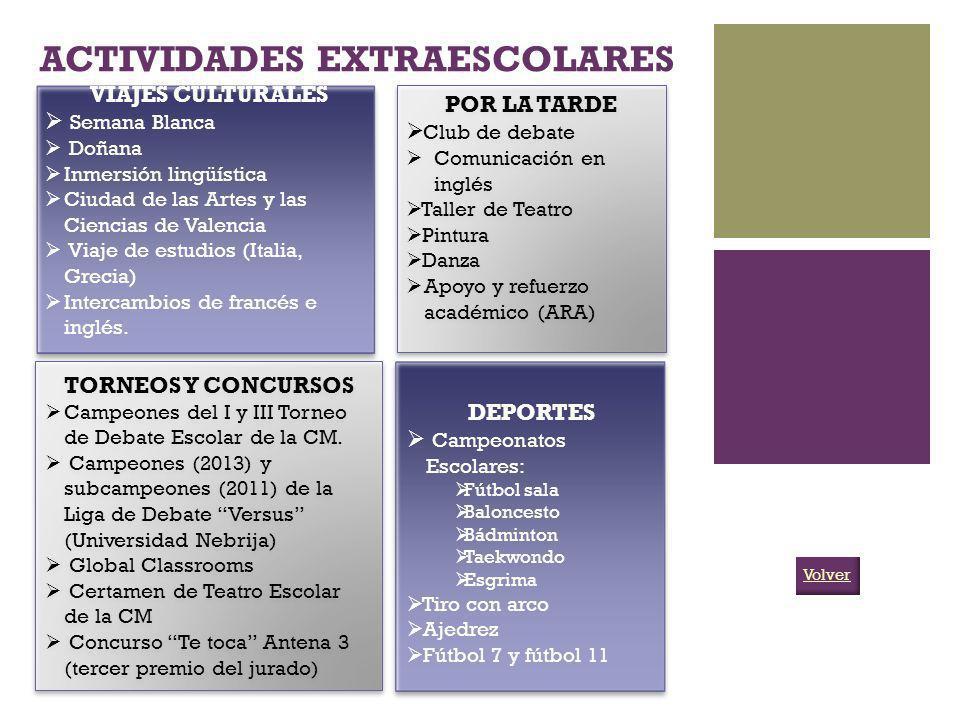 ACTIVIDADES EXTRAESCOLARES VIAJES CULTURALES Semana Blanca Doñana Inmersión lingüística Ciudad de las Artes y las Ciencias de Valencia Viaje de estudi