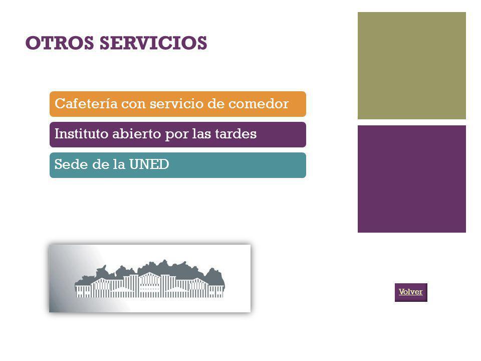 OTROS SERVICIOS Cafetería con servicio de comedorInstituto abierto por las tardesSede de la UNED Volver