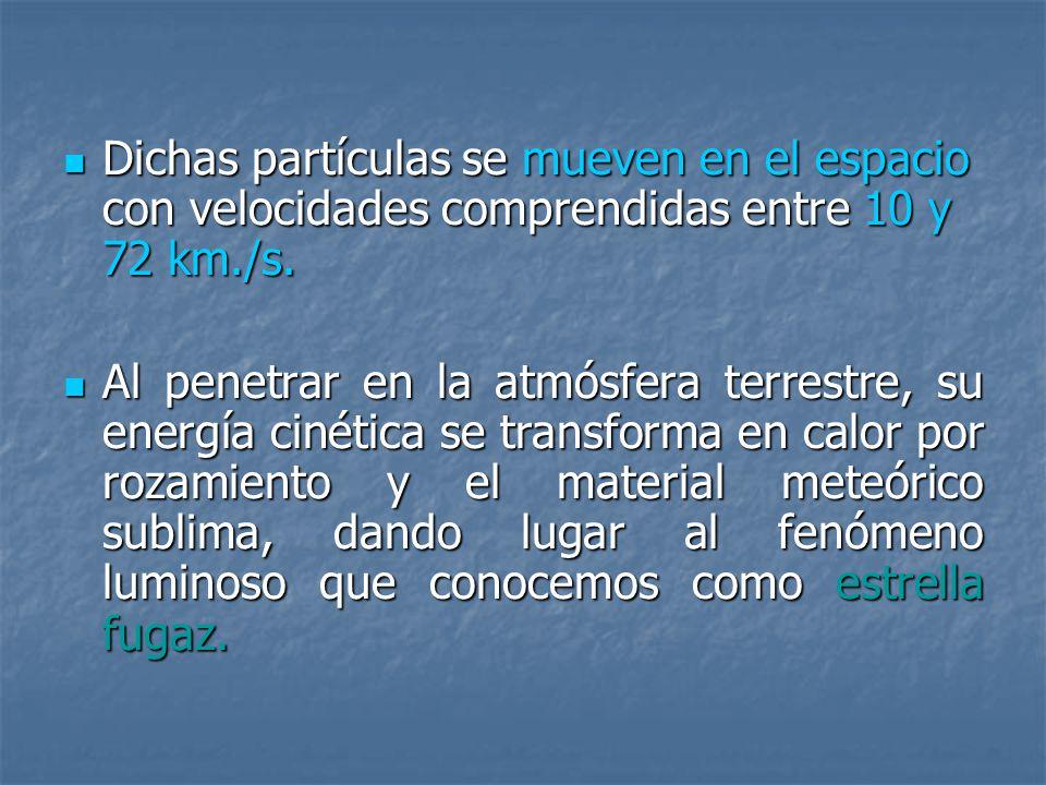 Dichas partículas se mueven en el espacio con velocidades comprendidas entre 10 y 72 km./s. Dichas partículas se mueven en el espacio con velocidades