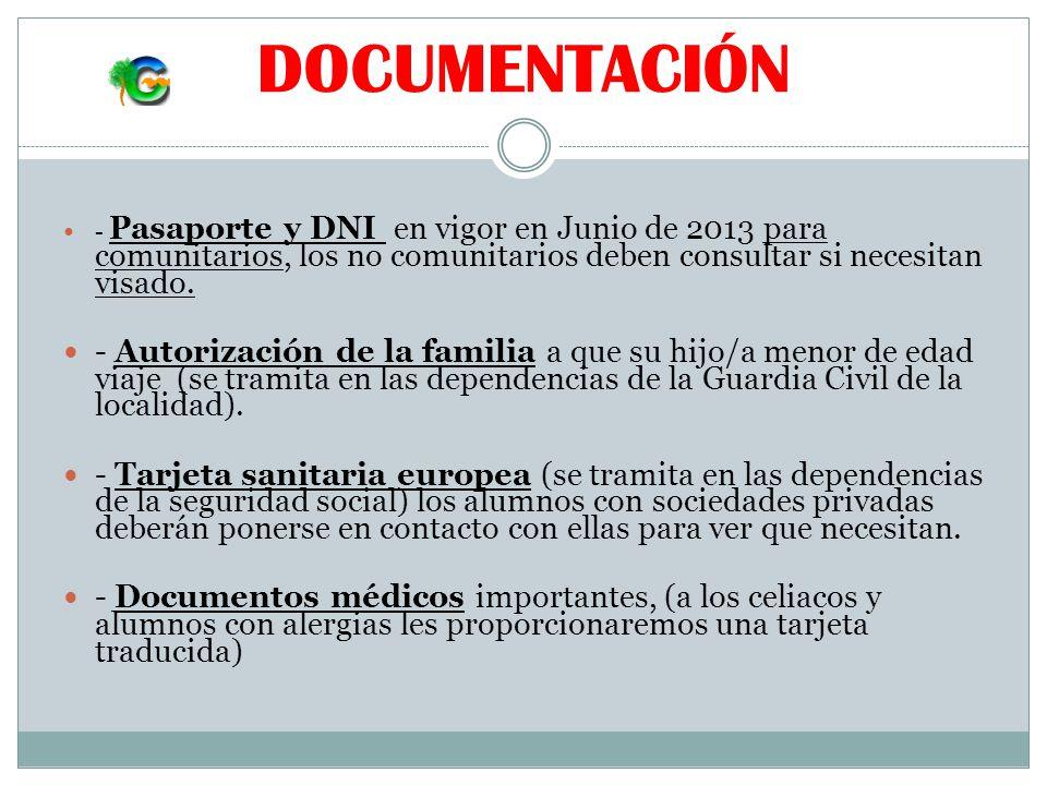DOCUMENTACIÓN - Pasaporte y DNI en vigor en Junio de 2013 para comunitarios, los no comunitarios deben consultar si necesitan visado.