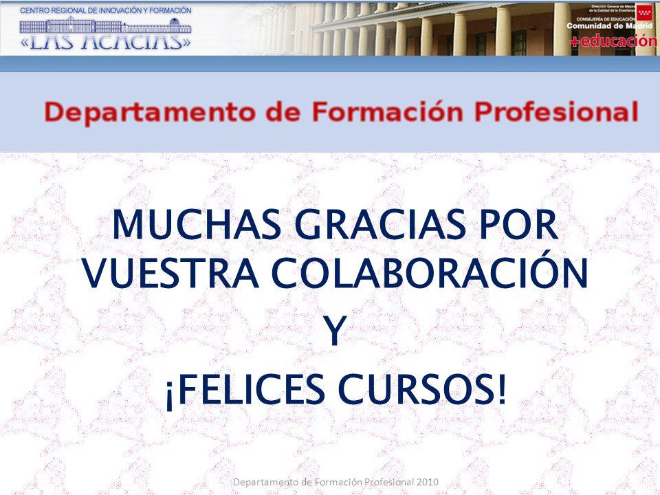 Departamento de Formación Profesional 2010 MUCHAS GRACIAS POR VUESTRA COLABORACIÓN Y ¡FELICES CURSOS!