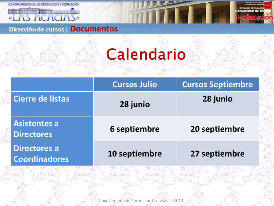 Dirección de cursos | Documentos Departamento de Formación Profesional 2010 Calendario Cursos JulioCursos Septiembre Cierre de listas 28 junio Asisten