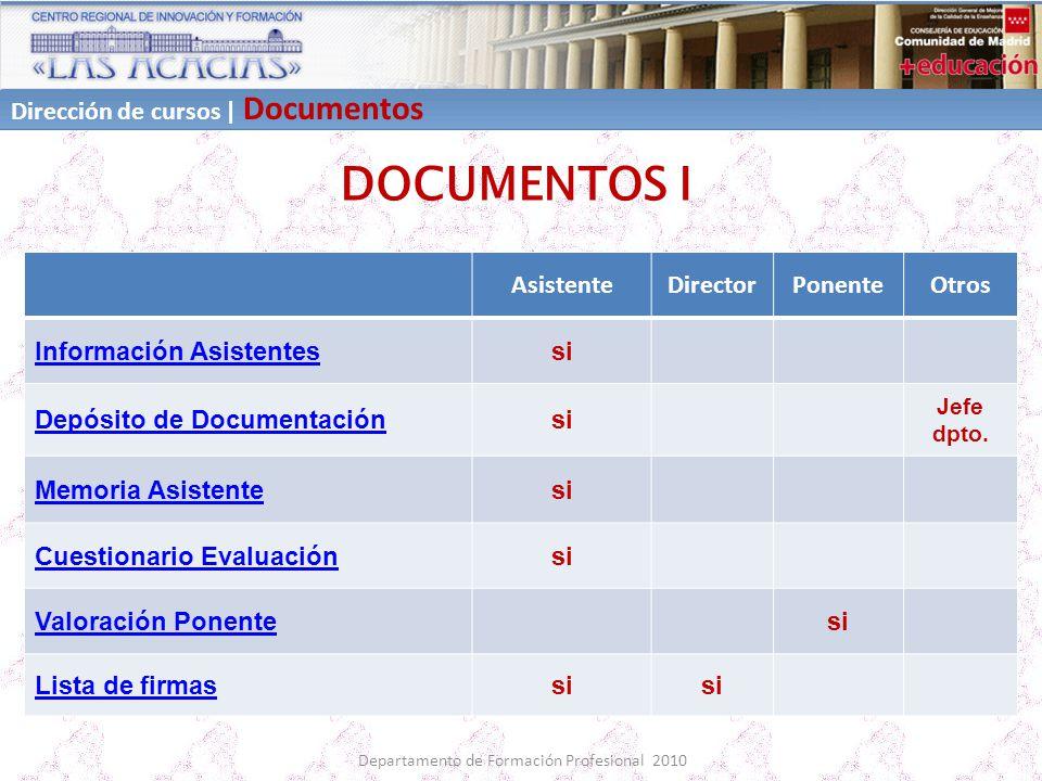 Departamento de Formación Profesional 2010 DOCUMENTOS I AsistenteDirectorPonenteOtros Información Asistentessi Depósito de Documentaciónsi Jefe dpto.