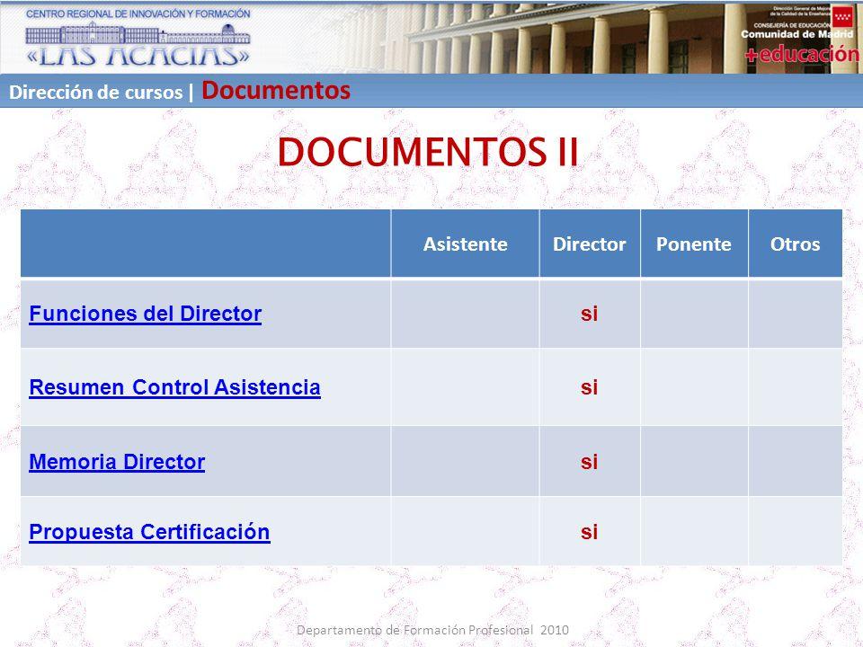 Departamento de Formación Profesional 2010 DOCUMENTOS II AsistenteDirectorPonenteOtros Funciones del Directorsi Resumen Control Asistenciasi Memoria D