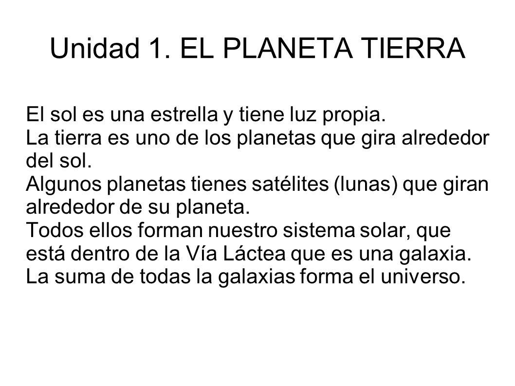 Unidad 1. EL PLANETA TIERRA El sol es una estrella y tiene luz propia. La tierra es uno de los planetas que gira alrededor del sol. Algunos planetas t