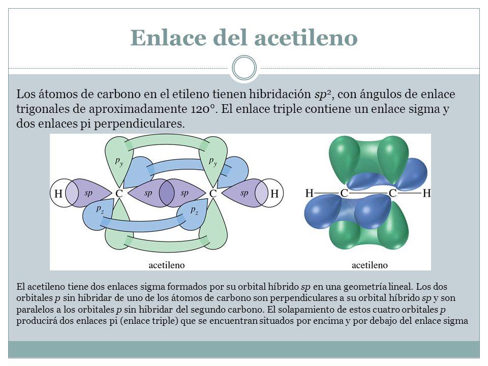 Enlace del acetileno Los átomos de carbono en el etileno tienen hibridación sp 2, con ángulos de enlace trigonales de aproximadamente 120°.