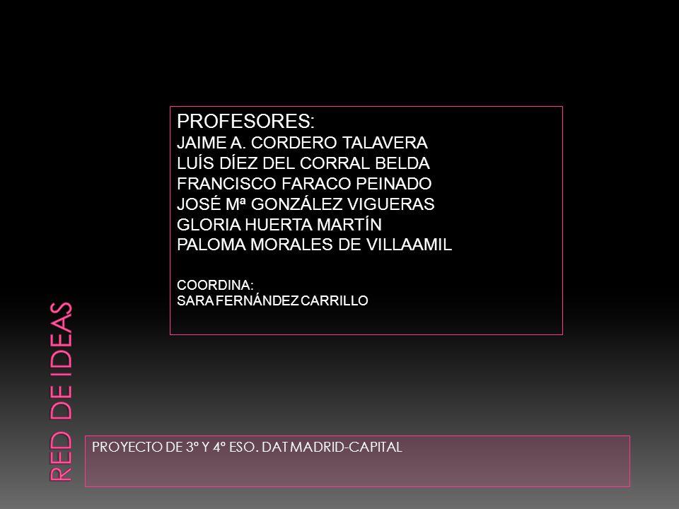 PROYECTO DE 3º Y 4º ESO. DAT MADRID-CAPITAL PROFESORES: JAIME A. CORDERO TALAVERA LUÍS DÍEZ DEL CORRAL BELDA FRANCISCO FARACO PEINADO JOSÉ Mª GONZÁLEZ