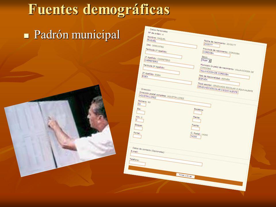 Fuentes demográficas Padrón municipal Padrón municipal