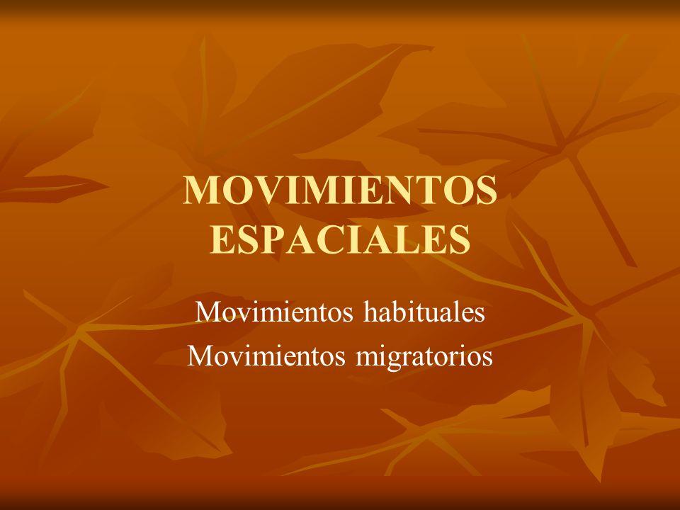 MOVIMIENTOS ESPACIALES Movimientos habituales Movimientos migratorios