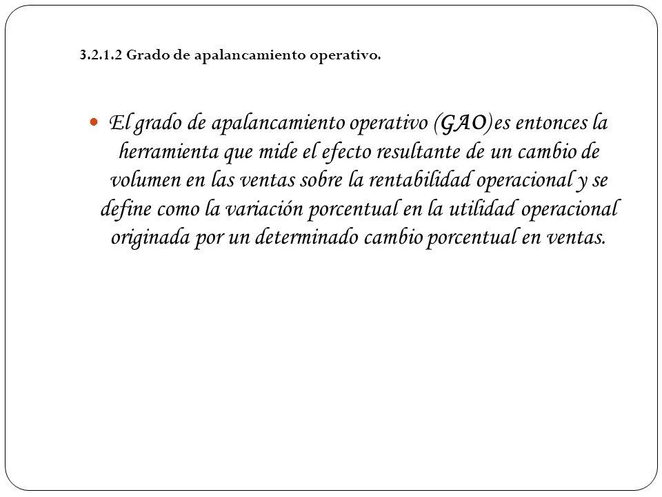 El grado de apalancamiento operativo (GAO) es entonces la herramienta que mide el efecto resultante de un cambio de volumen en las ventas sobre la ren