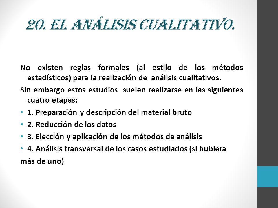 20. El análisis cualitativo. No existen reglas formales (al estilo de los métodos estadísticos) para la realización de análisis cualitativos. Sin emba