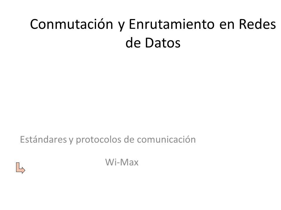 Conmutación y Enrutamiento en Redes de Datos Estándares y protocolos de comunicación Wi-Max
