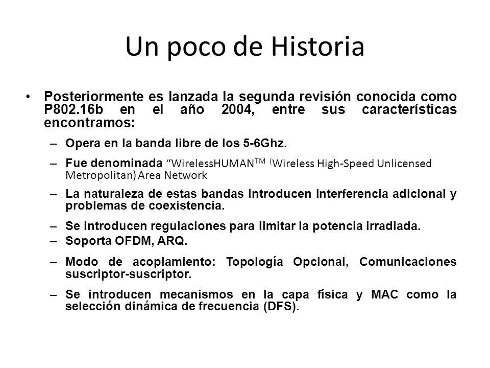 Un poco de Historia Posteriormente es lanzada la segunda revisión conocida como P802.16b en el año 2004, entre sus características encontramos: –Opera