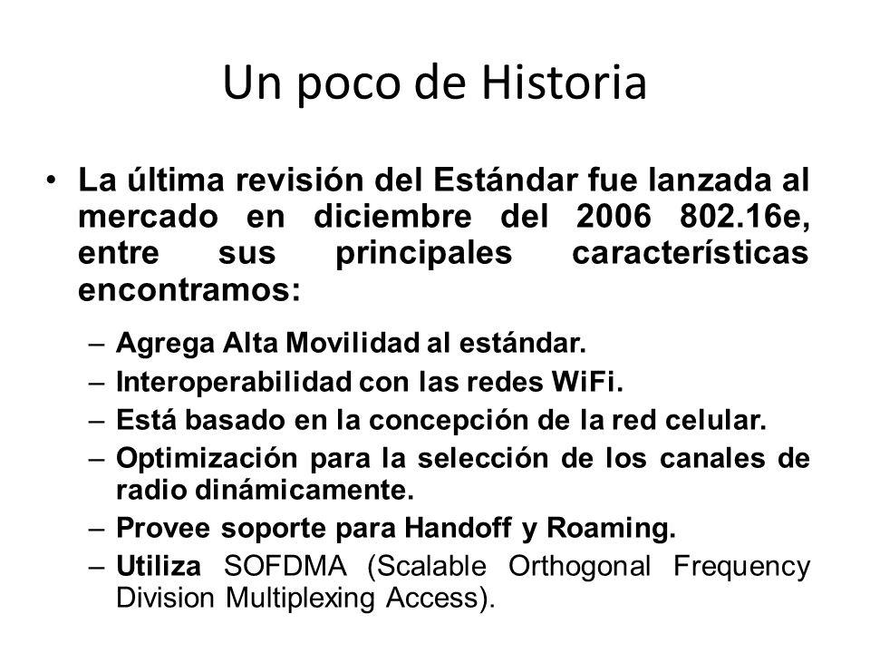 Un poco de Historia La última revisión del Estándar fue lanzada al mercado en diciembre del 2006 802.16e, entre sus principales características encont