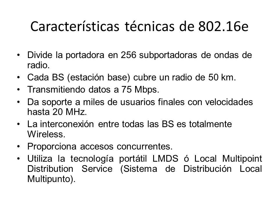 Características técnicas de 802.16e Divide la portadora en 256 subportadoras de ondas de radio. Cada BS (estación base) cubre un radio de 50 km. Trans