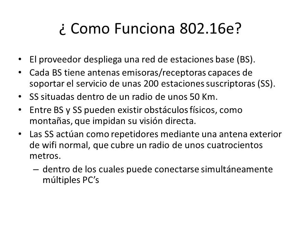 ¿ Como Funciona 802.16e? El proveedor despliega una red de estaciones base (BS). Cada BS tiene antenas emisoras/receptoras capaces de soportar el serv
