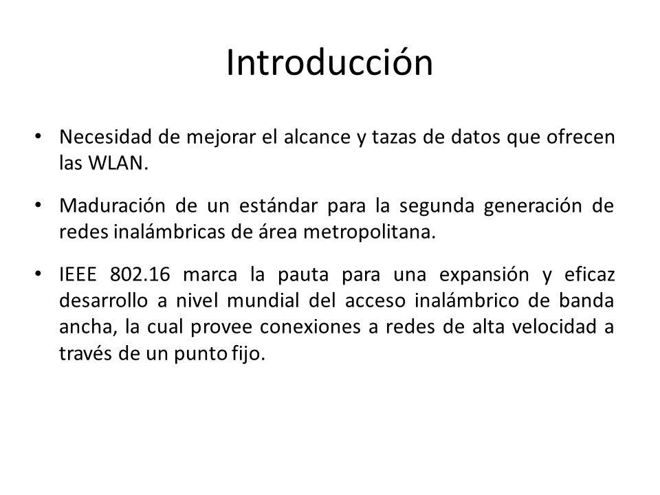 Introducción Necesidad de mejorar el alcance y tazas de datos que ofrecen las WLAN. Maduración de un estándar para la segunda generación de redes inal