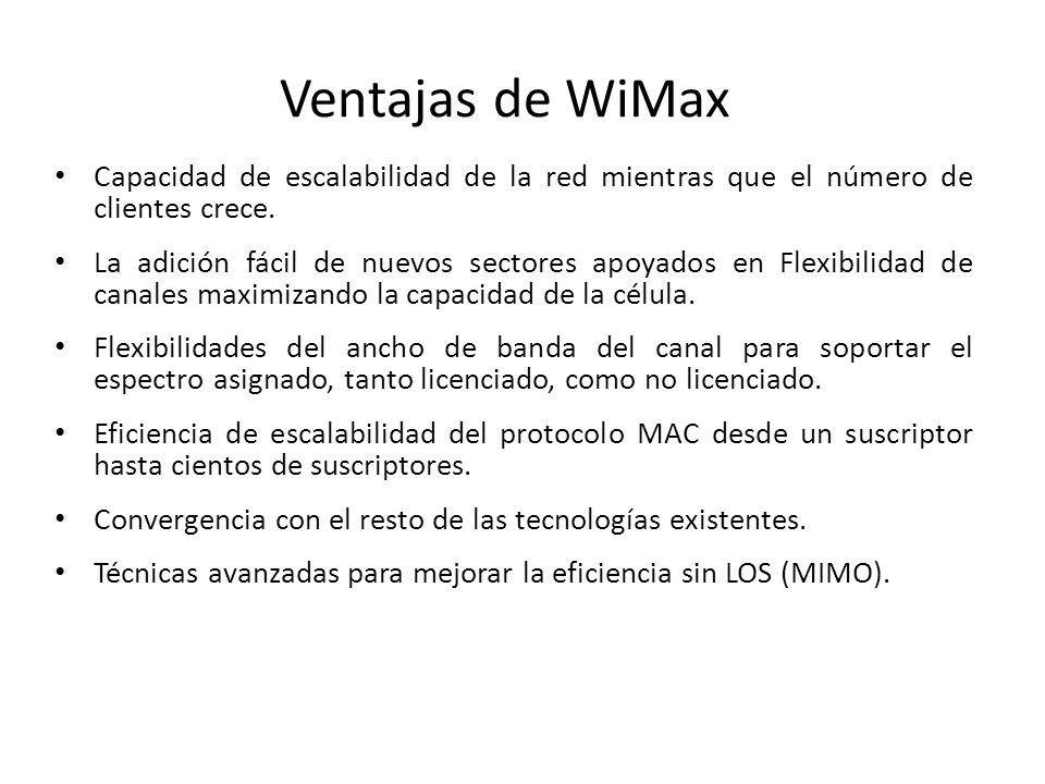 Ventajas de WiMax Capacidad de escalabilidad de la red mientras que el número de clientes crece. La adición fácil de nuevos sectores apoyados en Flexi