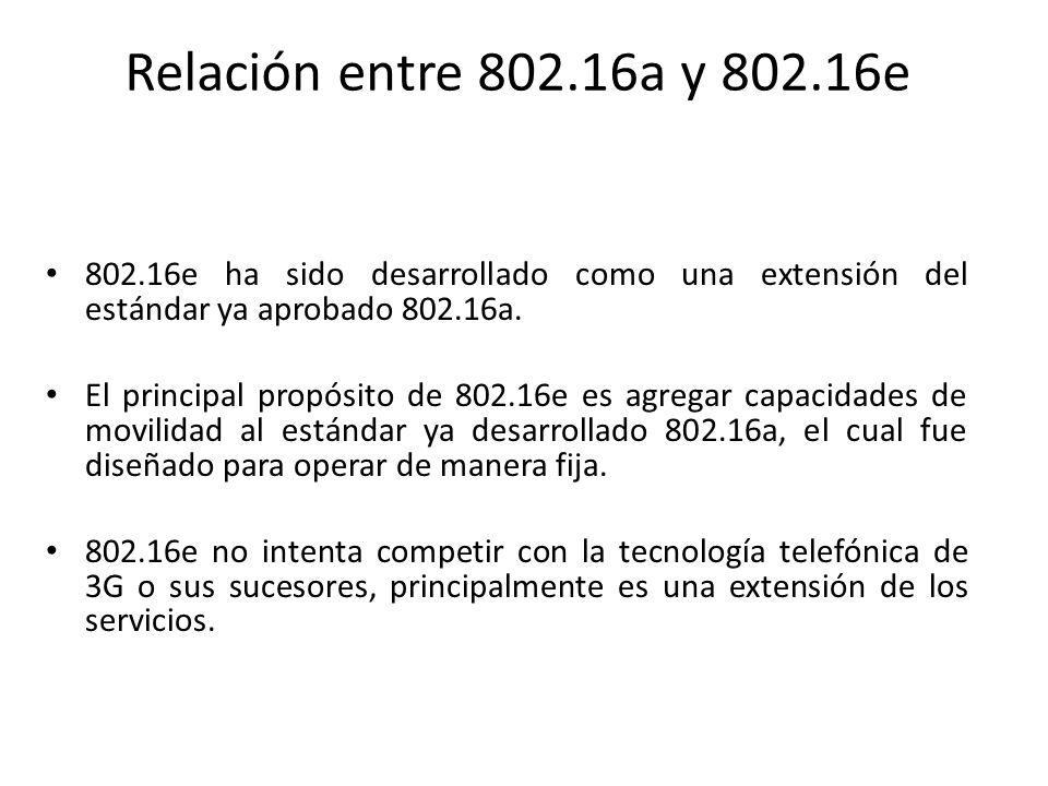 Relación entre 802.16a y 802.16e 802.16e ha sido desarrollado como una extensión del estándar ya aprobado 802.16a. El principal propósito de 802.16e e