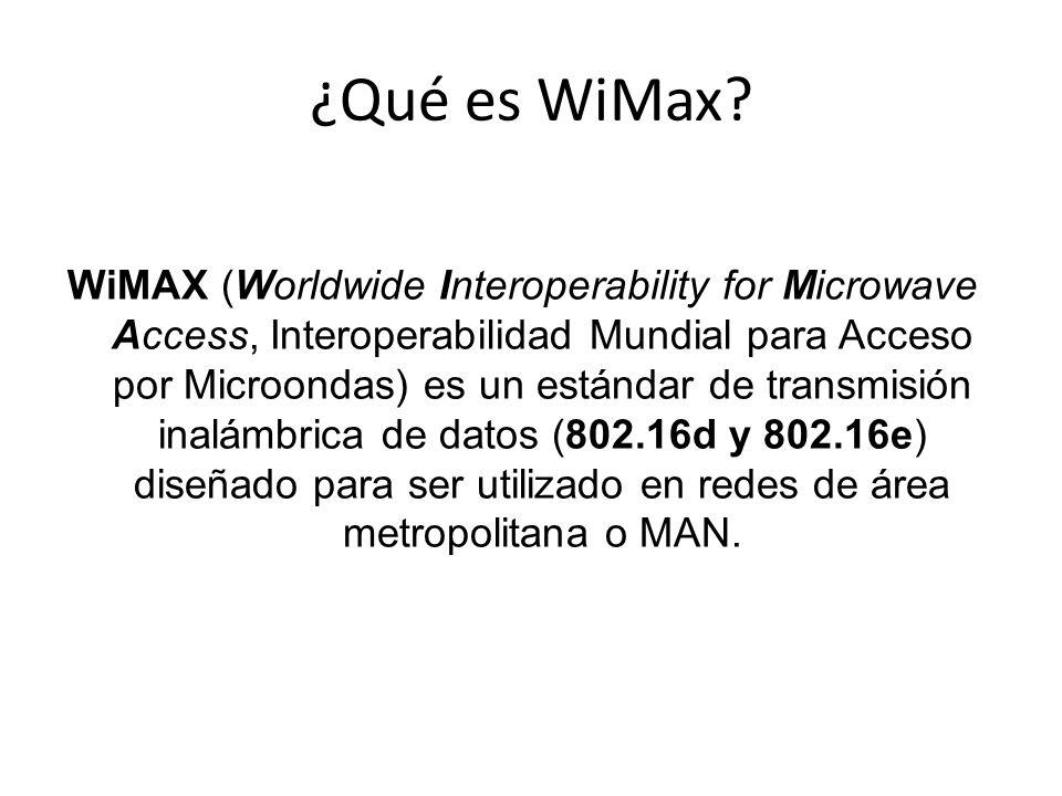¿Qué es WiMax? WiMAX (Worldwide Interoperability for Microwave Access, Interoperabilidad Mundial para Acceso por Microondas) es un estándar de transmi