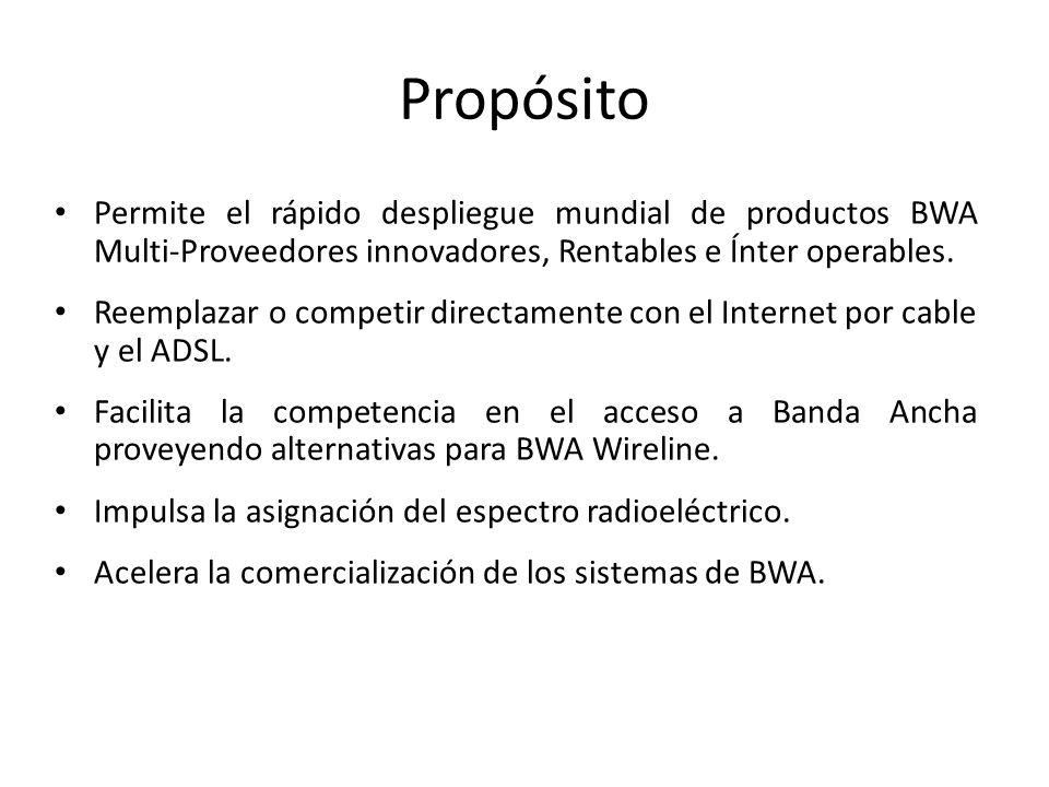 Propósito Permite el rápido despliegue mundial de productos BWA Multi-Proveedores innovadores, Rentables e Ínter operables. Reemplazar o competir dire
