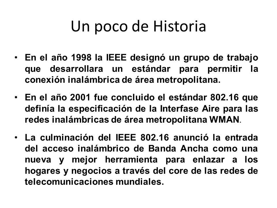 Un poco de Historia En el año 1998 la IEEE designó un grupo de trabajo que desarrollara un estándar para permitir la conexión inalámbrica de área metr