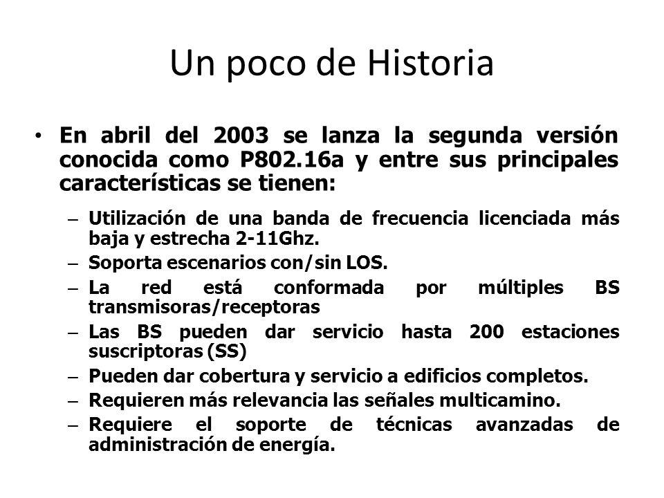 Un poco de Historia En abril del 2003 se lanza la segunda versión conocida como P802.16a y entre sus principales características se tienen: – Utilizac