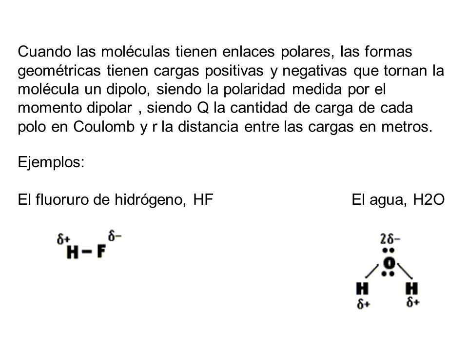Cuando las moléculas tienen enlaces polares, las formas geométricas tienen cargas positivas y negativas que tornan la molécula un dipolo, siendo la po