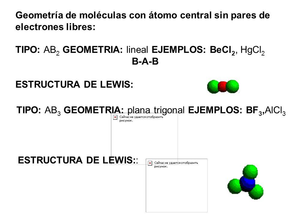 Geometría de moléculas con átomo central sin pares de electrones libres: TIPO: AB 2 GEOMETRIA: lineal EJEMPLOS: BeCl 2, HgCl 2 B-A-B ESTRUCTURA DE LEW