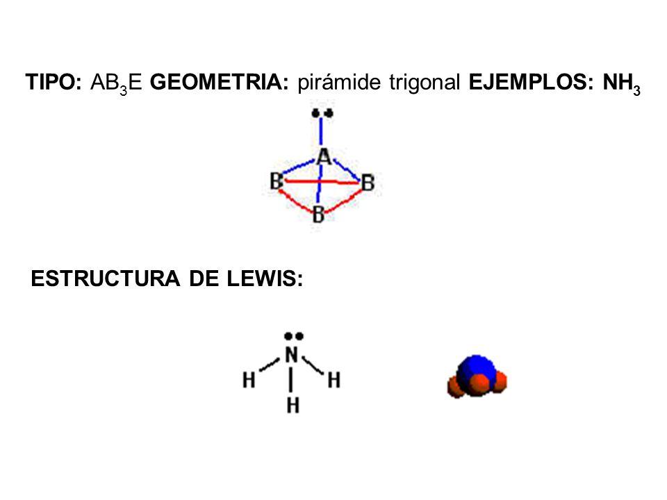 TIPO: AB 3 E GEOMETRIA: pirámide trigonal EJEMPLOS: NH 3 ESTRUCTURA DE LEWIS: