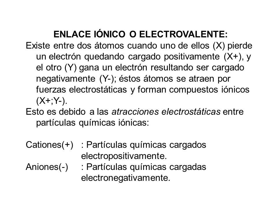ENLACE IÓNICO O ELECTROVALENTE: Existe entre dos átomos cuando uno de ellos (X) pierde un electrón quedando cargado positivamente (X+), y el otro (Y)