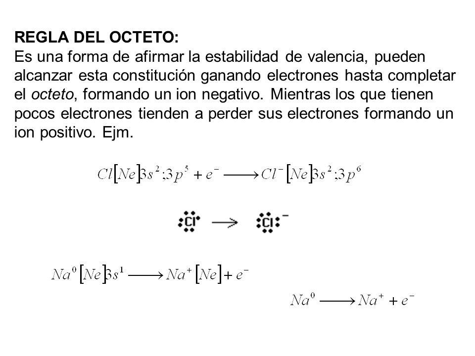 REGLA DEL OCTETO: Es una forma de afirmar la estabilidad de valencia, pueden alcanzar esta constitución ganando electrones hasta completar el octeto,