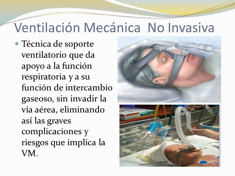 Ventilación Mecánica No Invasiva Técnica de soporte ventilatorio que da apoyo a la función respiratoria y a su función de intercambio gaseoso, sin inv