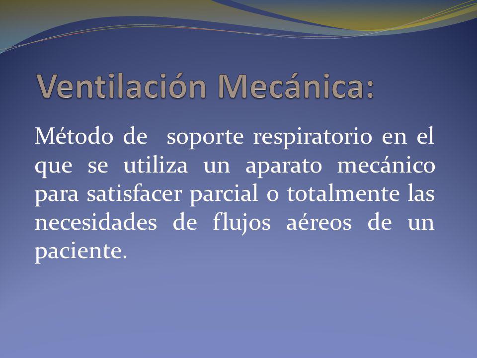 Método de soporte respiratorio en el que se utiliza un aparato mecánico para satisfacer parcial o totalmente las necesidades de flujos aéreos de un pa