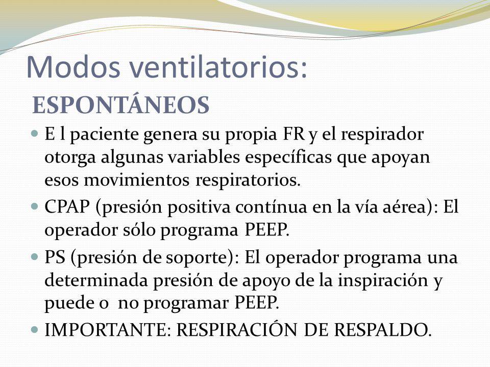 Modos ventilatorios: ESPONTÁNEOS E l paciente genera su propia FR y el respirador otorga algunas variables específicas que apoyan esos movimientos res
