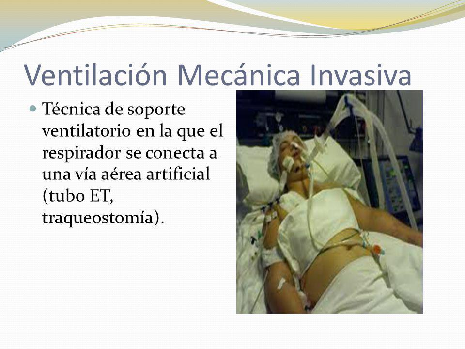 Ventilación Mecánica Invasiva Técnica de soporte ventilatorio en la que el respirador se conecta a una vía aérea artificial (tubo ET, traqueostomía).