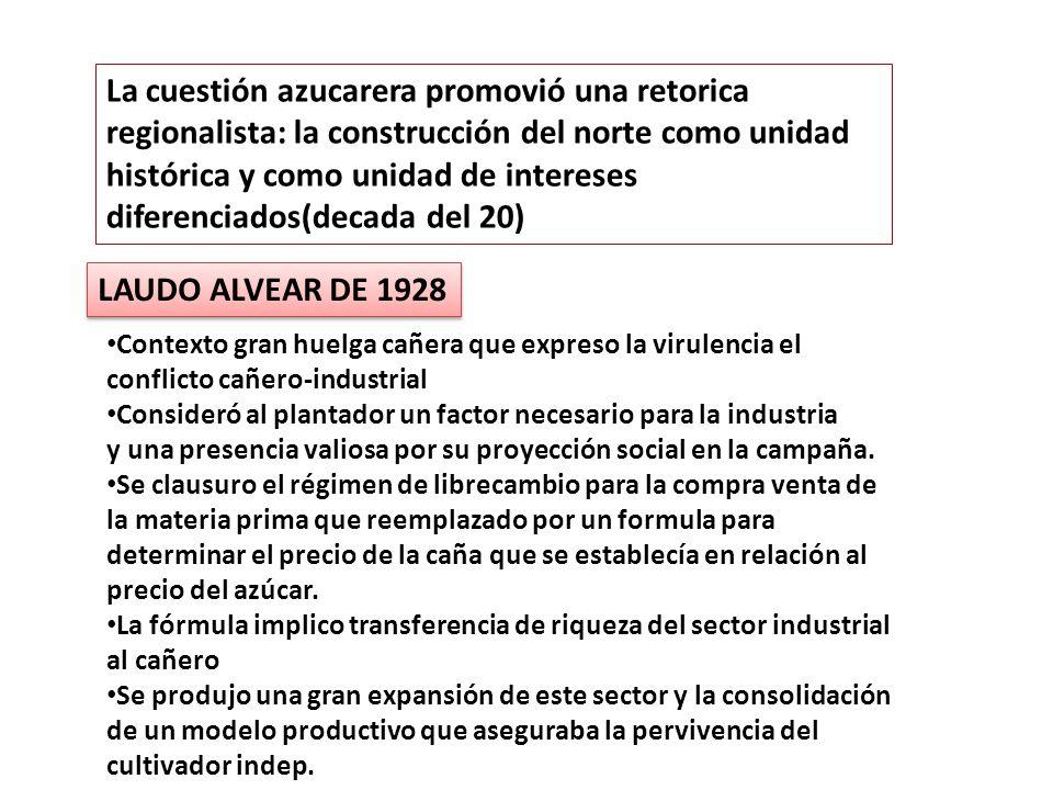 La cuestión azucarera promovió una retorica regionalista: la construcción del norte como unidad histórica y como unidad de intereses diferenciados(dec
